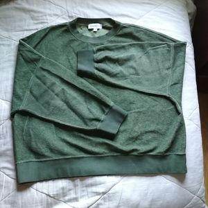 SOMETHING NAVY Green Terry 100% Cotton Sweatshirt